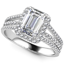 Image for Emerald Diamond Single Halo Triple Row Shoulder Set Ring