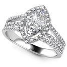 Image for Marquise Diamond Single Halo Triple Row Shoulder Set Ring