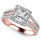 Image for Princess Diamond Single Halo Triple Row Shoulder Set Ring