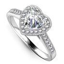 Image for Heart Shaped Diamond Single Halo Shoulder Set Ring