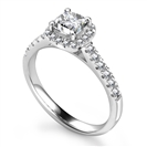 Cushion Diamond Single Halo Shoulder Set Ring