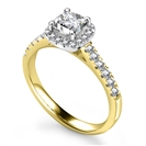 Image for Cushion Diamond Single Halo Shoulder Set Ring