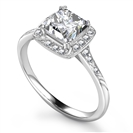 Image for Princess Diamond Single Halo Shoulder Set Ring