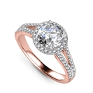 Image for Unique Round Diamond Halo Shoulder Set Ring