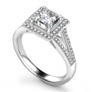 Image for Unique Princess Diamond Halo Shoulder Set Ring