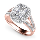 Image for Long Cushion Diamond Single Halo Split Shoulder Set Ring