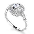 Round Diamond Single Halo Milgrain Ring