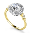 Image for Round Diamond Single Halo Milgrain Ring