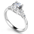 Image for Modern Round & Baguette Diamond Designer Ring