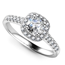 Single Halo Round Diamond Ring