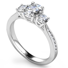 3 Stone Oval Diamond Ring with Shoulder Diamonds