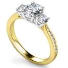Image for 3 Stone Oval Diamond Ring with Shoulder Diamonds