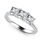3 Stone Princess Diamond Shoulder Set Ring