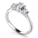 Elegant Oval & Round Diamond Trilogy Ring