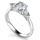 Elegant Oval & Pear Diamond Trilogy Ring