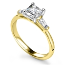 Image for Elegant Princess & Baguette Diamond Trilogy Ring