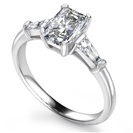 Image for Classic Radiant & Baguette Diamond Trilogy Ring