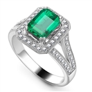 Emerald & Diamond Single Halo Shoulder Set Ring