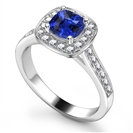 Blue Sapphire & Diamond Single Halo Shoulder Set Ring