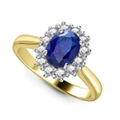 Image for Oval Blue Sapphire & Diamond Cluster Ring