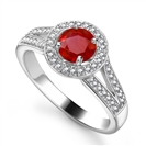 Round Ruby & Diamond Halo Shoulder Set Ring