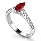 Ruby & Diamond Shoulder Set Ring