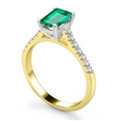 Image for Emerald & Diamond Shoulder Set Ring