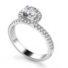 Round Diamond Single Halo Shoulder Set Ring