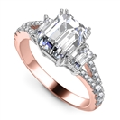 Image for Modern Emerald Diamond Split Shoulder Set Ring