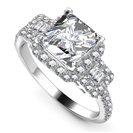 Image for Princess Diamond Halo Designer Shoulder Set Ring