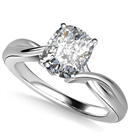 Modern Intertwined Cushion Diamond Engagement Ring