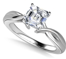 Image for Modern Intertwined Asscher Diamond Engagement Ring