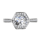 Hexagon Round Diamond Single Halo Shoulder Set Ring