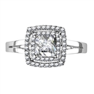 Double Halo Princess Diamond Engagement Ring