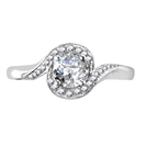 Twisted Round Diamond Shoulder Set Ring