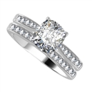 Cushion Diamond Shoulder Set Ring With Matching Band