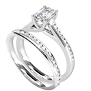 Radiant Diamond Shoulder Set Ring With Matching Band