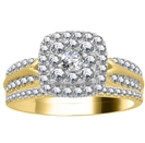 Image for Single Halo Round Diamond Cluster Bridal Set
