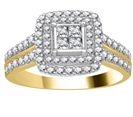 Image for Double Halo Round Diamond Cluster Shoulder Set Ring