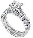Princess Diamond Shoulder Set Ring With Matching Band