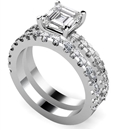 Image for Asscher Diamond Shoulder Set Ring With Matching Band