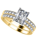 Image for Radiant Diamond Shoulder Set Ring With Matching Band