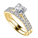 Image for Heart Diamond Shoulder Set Ring With Matching Band