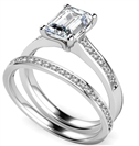Emerald Diamond Shoulder Set Ring With Matching Band