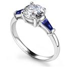 Image for Round Diamond & Blue Sapphire Trilogy Ring