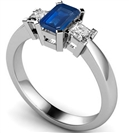 Image for Emerald Blue Sapphire & Diamond Trilogy Ring