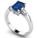 Emerald Blue Sapphire & Baguette Diamond Trilogy Ring