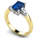 Image for Emerald Blue Sapphire & Baguette Diamond Trilogy Ring