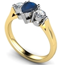 Image for Pear Blue Sapphire & Diamond Trilogy Ring