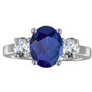 Oval Blue Sapphire & Diamond Trilogy Ring
